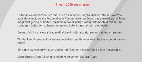 Studio bleibt bis am 19.04.2020 geschlossen (Bundesratsentscheid 16.03.2020)